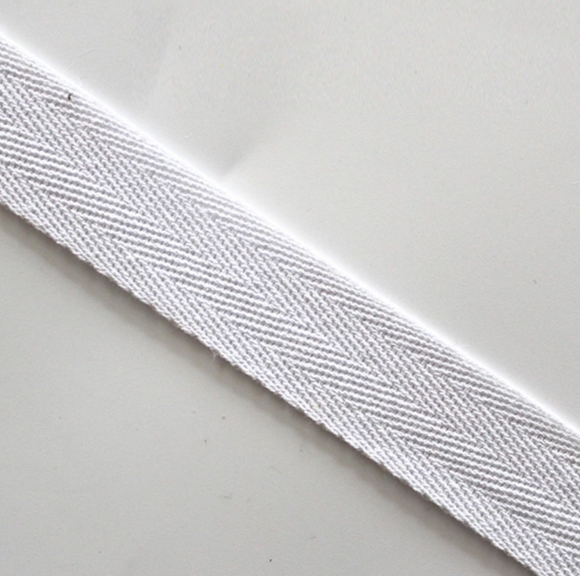 19mm Herringbone Twill Tape 100% Cotton - White - By the Meter OR 5 Meter
