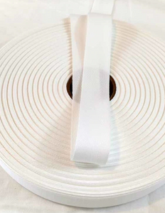 25mm (1 inch) Herringbone Twill Tape 100% Cotton - White - By the Meter OR 5 Meter