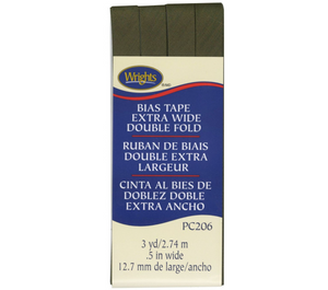 Wrights Bias Tape Extra Wide Double Fold 13mm x 2.75M Olive Green #1136
