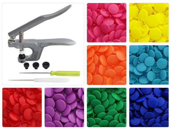 KAM Snaps Starter Set 100 Snaps Bright Rainbow & Pliers for Plastic Snaps K3 (for Sizes 20, 22, 24)