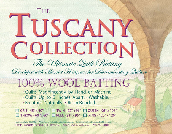 Tuscany 100% Washable Wool Batting - Throw 60in X 60in
