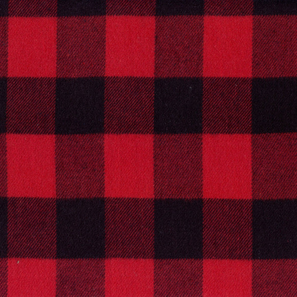 Marcus Fabrics - Primo Plaid Classic Flannel - Red Buffalo Plaid - Cotton Flannel - 1/2 Yard