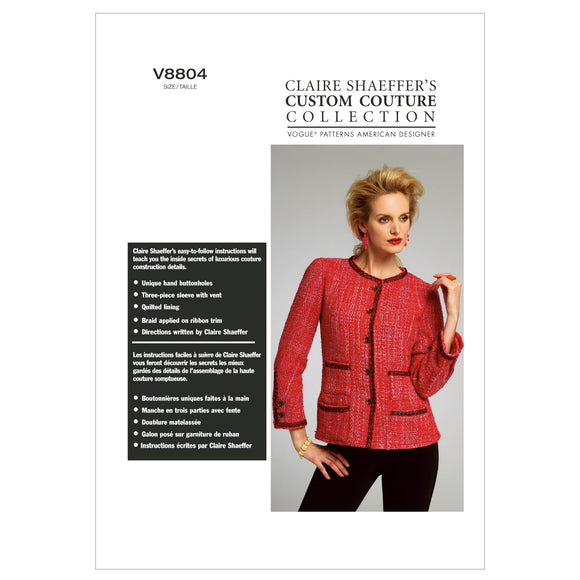 Vogue - V8804 Misses' Quilted Collarless Jacket (Sizes 6-8-10-12-14)
