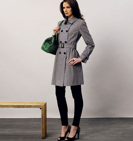 Vogue - V8884 Misses' Double-Breasted Trench Coats and Belt (Sizes 6-8-10-12-14)