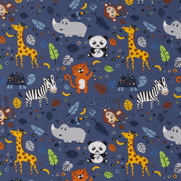 Happy Zoo Animals - Blue - European Import Cotton Jersey Knit - 1/2 Yard