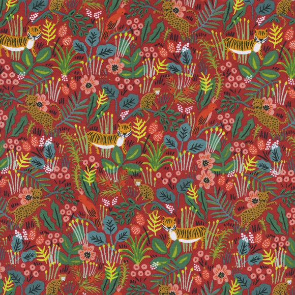 Rifle Paper Co for Cotton & Steel - Menagerie - Jungle - Red - Cotton Fabric - 1/2 Yard