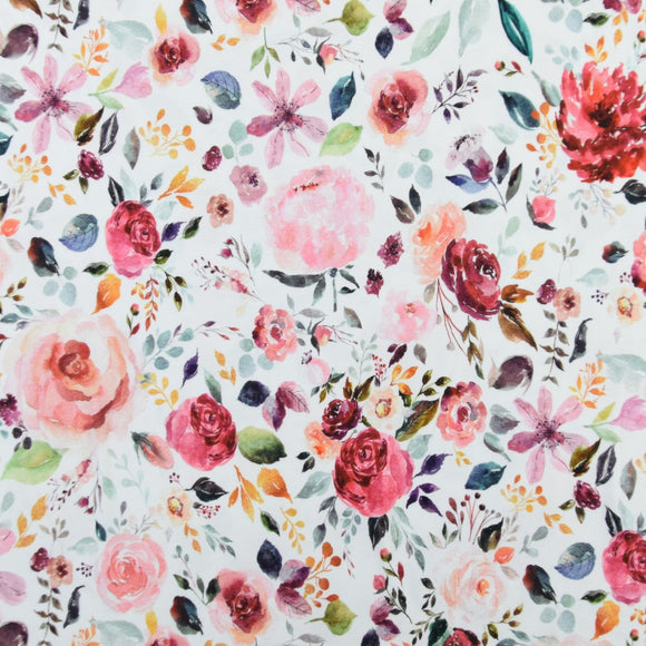 Painted Flowers - White - Digital Print - By Poppy - GOTS Certified Organic Cotton Jersey Knit - 1/2 Yard