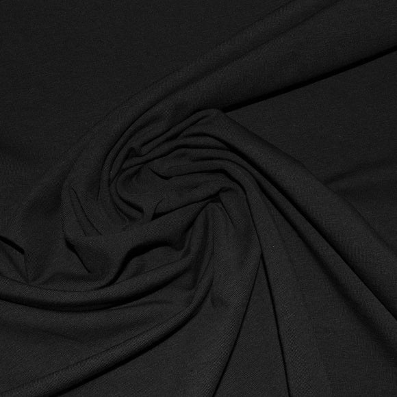 Bamboo/Cotton Stretch Jersey 250GSM - Black - 1/2 Yard