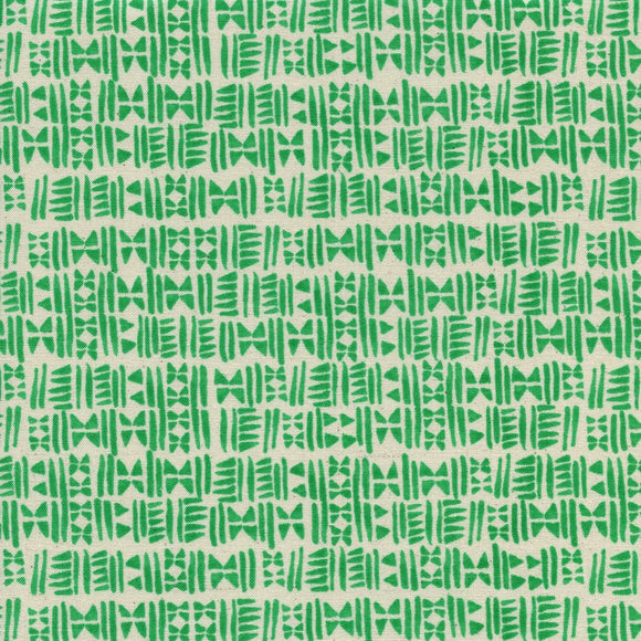 Cotton & Steel - Panorama - Stamps - Emerald City Green - Unbleached Cotton Fabric - 1/2 Yard