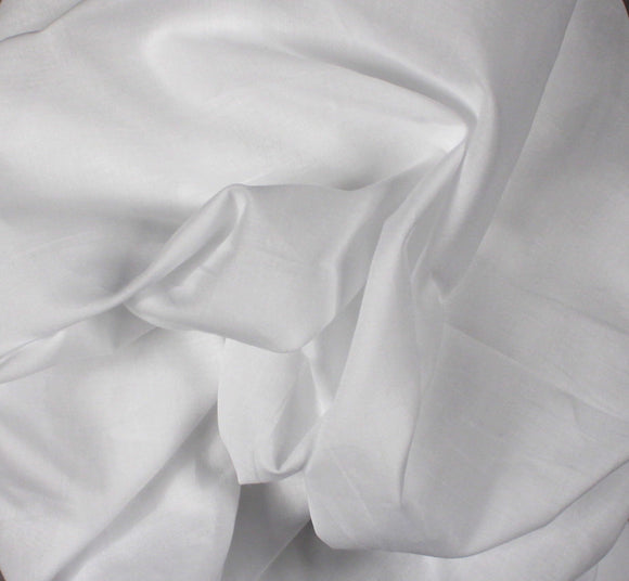 Combed Cotton Batiste - White - 60 inch - 1/2 Yard