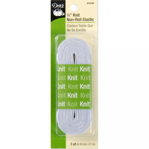 "Dritz 6 mm (1/4"") Knit Non-Roll Elastic - White - 3yd"