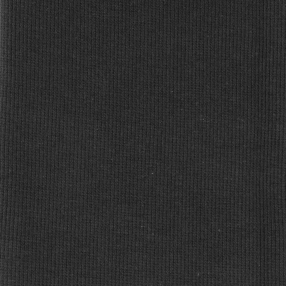 Bamboo Cotton Rib 2x2 - Dark Shadow Grey - Ribbed Knit Fabric - 1/2 Yard