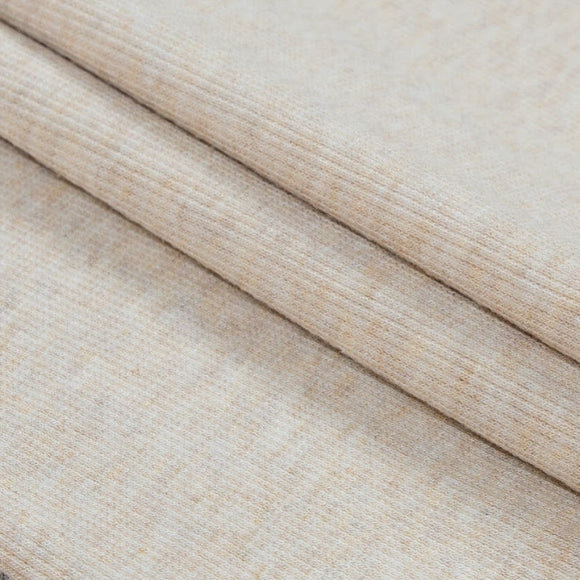 Bamboo Cotton Rib 2x2 - Heathered Almond - Natural Ribbed Knit - 1/2 Yard