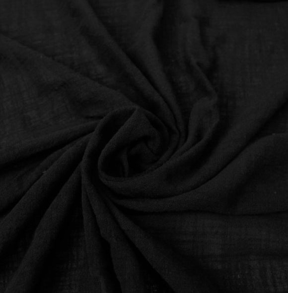 Organic Cotton Crepe Gauze Fabric - Pure Black - 1/2 Yard