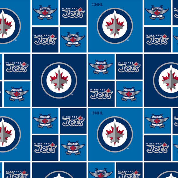 NHL Winnipeg Jets Cotton - Sykel Enterprises - Cotton Fabric - 1/2 Yard
