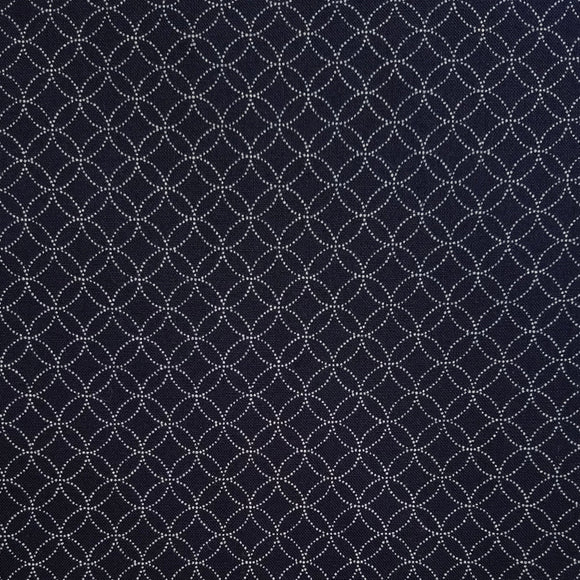 Cosmo Japan - Indigo Sheeting - Shippo Tsunagi - Seven Treasures - Cotton Fabric - Navy Blue - 1/2 Yard