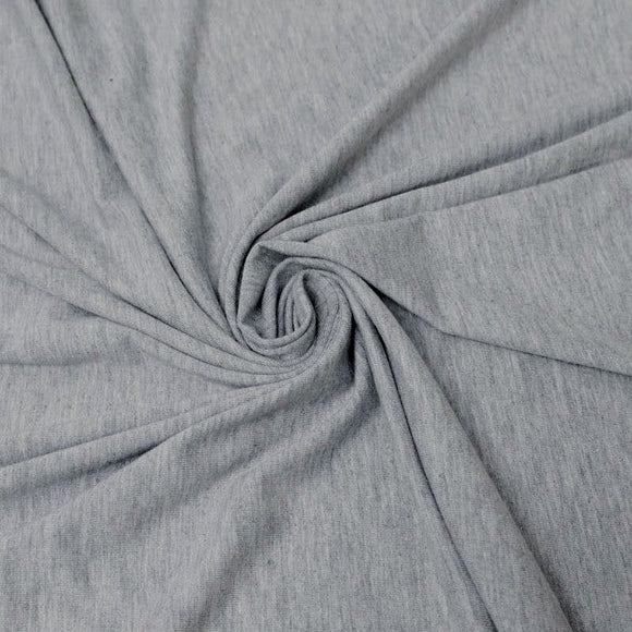 Bamboo/Cotton Stretch Jersey - Light Heathered Grey - 1/2 Yard
