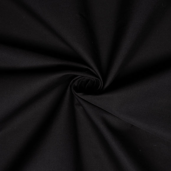 Organic Cotton Stretch Poplin - 1/2 Yard - Black