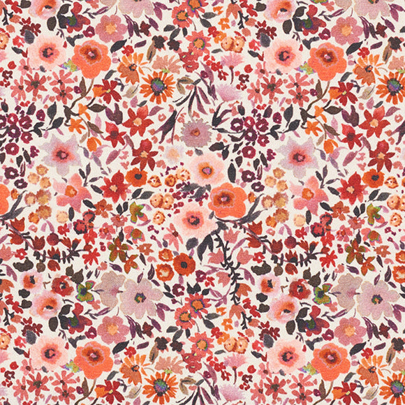 Ditsy Flowers - Pink - Digital Print - Poppy - GOTS Certified Organic Cotton Jersey Knit - 1/2 Yard