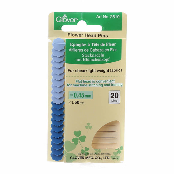 Clover - Flower Head Fine Pin Size 32 - 50mm  (2″) - 2 Colours - 20 Count