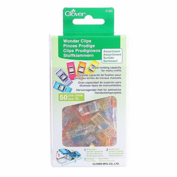 CLOVER - Wonder Clips - Assorted Colours -  50 Count 50Pcs