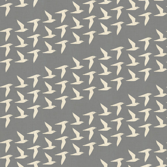 Cotton & Steel - By the Seaside - Fly Along - Fog - Unbleached Fabric - 1/2 Yard