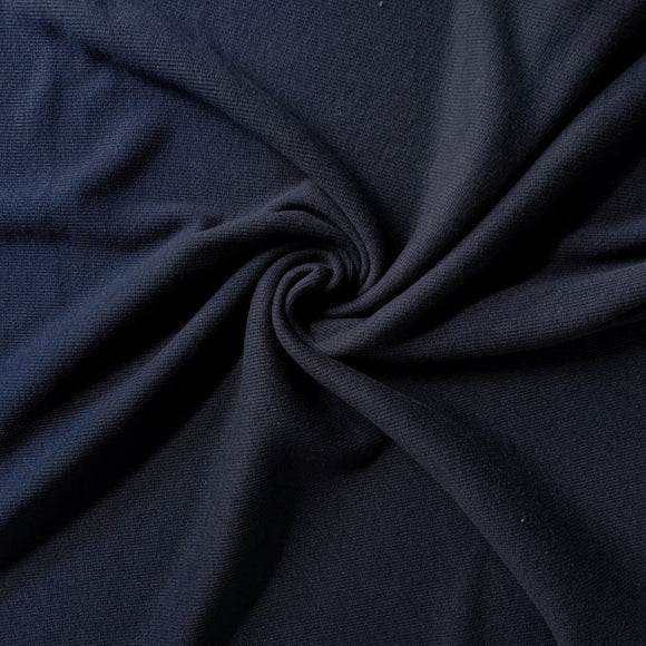 Bamboo Cotton Rib 2x2 - Marine Navy - 1/2 Yard