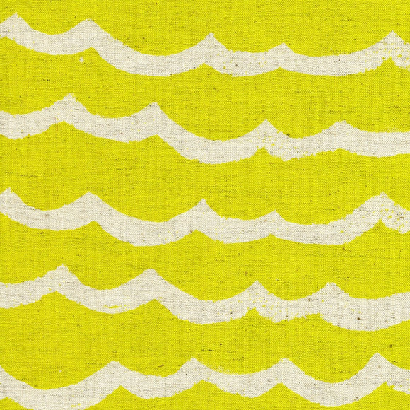Cotton & Steel - Kujira & Star - Cotton & Linen - Waves - Citron Sea - Canvas Fabric - 1/2 Yard