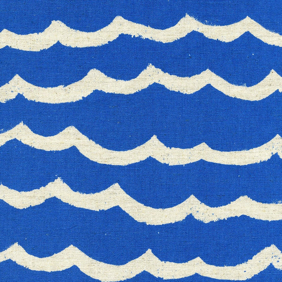 Cotton & Steel - Kujira & Star - Cotton & Linen - Waves - Blue Sea - Canvas Fabric - 1/2 Yard