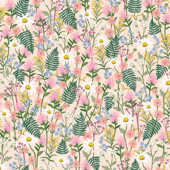 Rifle Paper Co. for Cotton & Steel - Wildwood - Wildflowers - Pale Rose - Cotton Lawn - 1/2 Yard