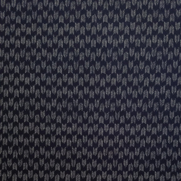 Cosmo Japan - Indigo Sheeting - Yabane - Arrowhead - Foxes - Cotton Fabric - Navy Blue - 1/2 Yard
