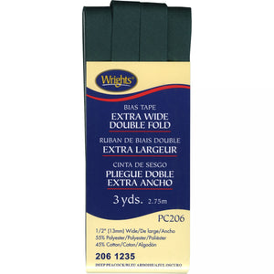 Wrights Bias Tape Extra Wide Double Fold 13mm x 2.75M Dark Green #1235