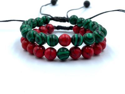 Red and Green bracelets
