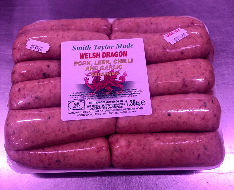 18 Welsh Dragon Sausages, 1.36 Kilos