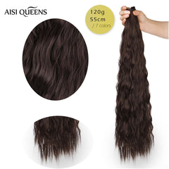 "AISI QUEENS Long Clips in Hair Extension Synthetic Natural Hair Water Wave Blonde Black Brown Red 22"" 28'' For Women Hairpieces"