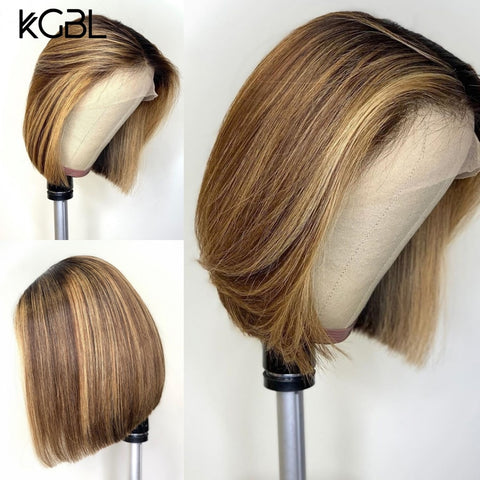 "KGBL Short Bob Ombre 4/27 Color 13*4 Lace Front Middle Ratio 8""-16"" Human Hair Wigs  Brazilian Non-Remy Hair   Pre-Plucked Wigs"