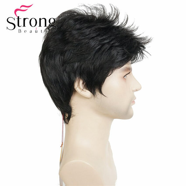 StrongBeauty Dark Brown Wig Mens Short Synthetic Hair Wigs COLOUR CHOICES