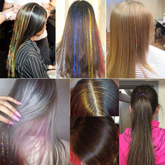 Vigorous Colorful Tinsel Bling Hair Extensions Sparkle Glitter Synthetic Highlights False Hair Stands Paryt Accessories