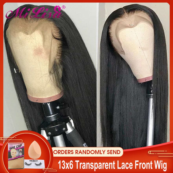 13x6 Straight Lace Front Human Hair Wigs Pre Plucked Remy Mi Lisa Brazilian Wigs Long Straight Human Hair 13x4 Lace Frontal Wigs