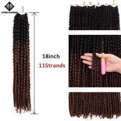 18inch Pre Twisted Passion Twist Hair Crochet Hair Synthetic Ombre Pre looped Fluffy Spring Bomb Twists Braiding Hair