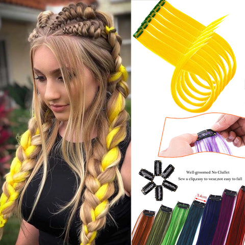 AILIADE Long Straight Colored Hair Strands Hair Extension Clip One Piece Synthetic False Pink Highlight Rainbow Hair Pieces