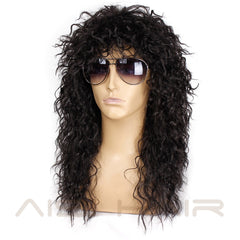 AISI HAIR Long Natural Black Curly wigs With Bang 20 Inches Synthetic Wigs  for Black Man/Women Heat Resistant