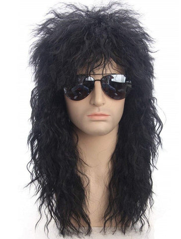 Gres Men Long Synthetic Hair Extension Wig Black Color Female Hairpiece Punk Puffy Headgear for Halloween High Temperature Fiber (Natural Black 30inches)