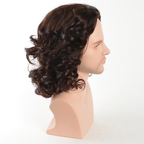 MSIWIGS Men Medium Wig Curly Dark Brown Colour Hair Synthetic for Male