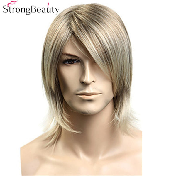 StrongBeauty Synthetic Hair Blonde Straight Wig For Men Cosplay Halloween Medium Long Wigs (12inches)