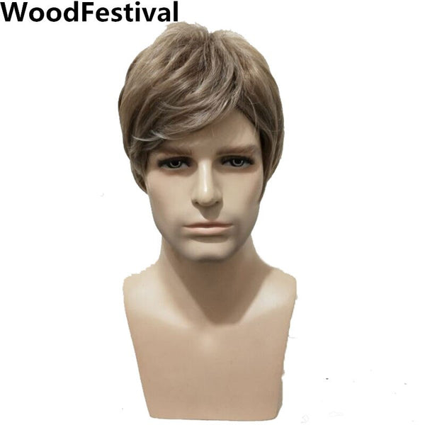 WoodFestival Male Men Heat Resistant Synthetic Wigs Brown Straight Mens Man Wig Cosplay Short (Brown 10inches)