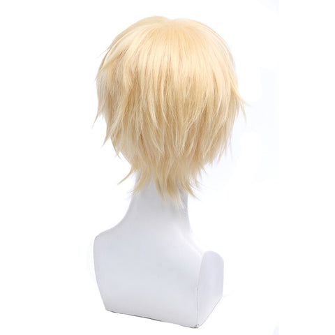 L-email wig Seraph of the end Mikaela Hyakuya Cosplay Wigs Blonde Short Straight Men Cosplay Wig Heat Resistant Synthetic Hair