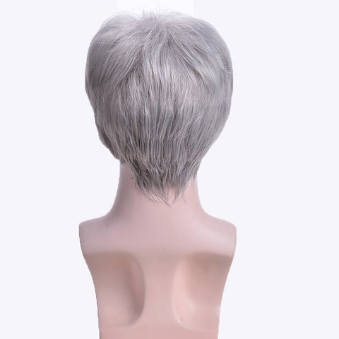 MSIWIGS Short Silver Grey Wig Mens Short Synthetic Hair Wigs Straight for Man