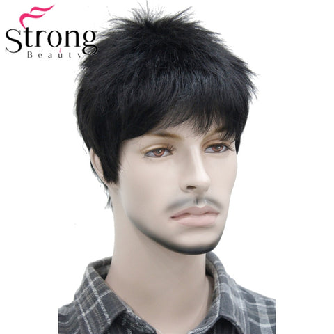 Short Striaght Full Synthetic Wig for Men Male Hair Fleeciness Realistic Wigs