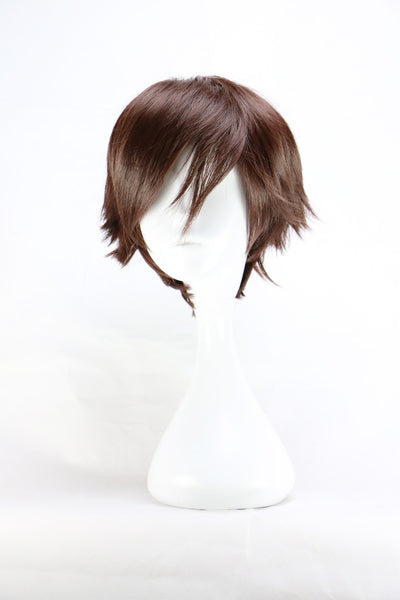 QQXCAIW Men Short Costume Cosplay  Boys Dark Brown 32 Cm Heat Resistant Synthetic Hair Wigs (14inches)